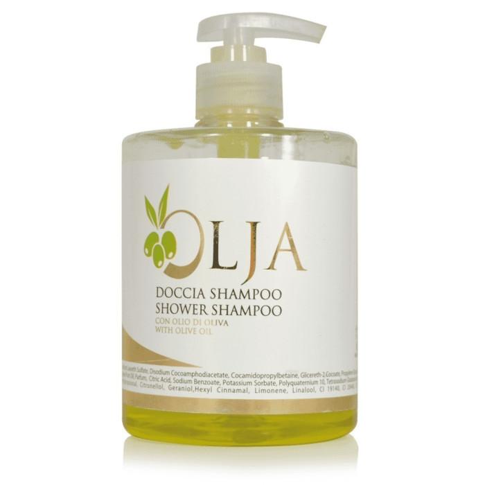 Doccia Shampoo OLJA flacone 500 ml DOCCIA SHAMPOO OLIJA flacone dosatore 500 ml. colore prodotto: verde oliva pezzi per cartone