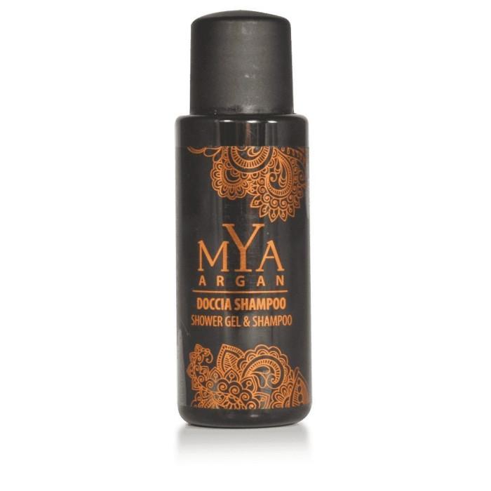Doccia shampoo MYA ARGAN flacone 30 ml { DOCCIA SHAMPOO MYA ARGAN flacone 30 ml colore prodotto: caramello trasp. pezzi per car